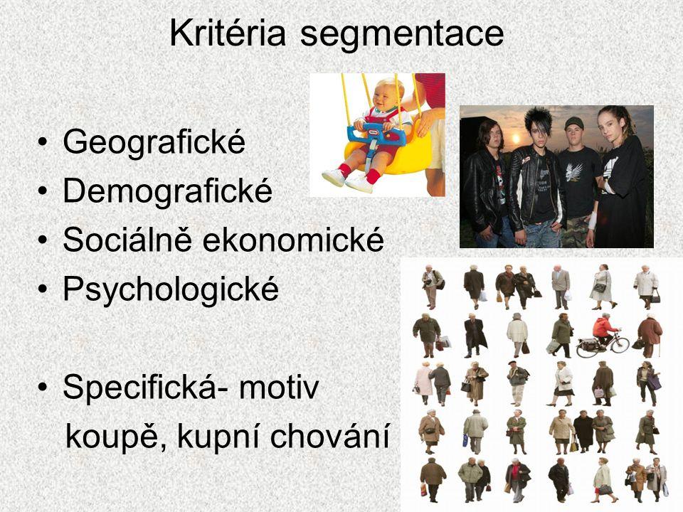 Kritéria segmentace Geografické Demografické Sociálně ekonomické Psychologické Specifická- motiv koupě, kupní chování