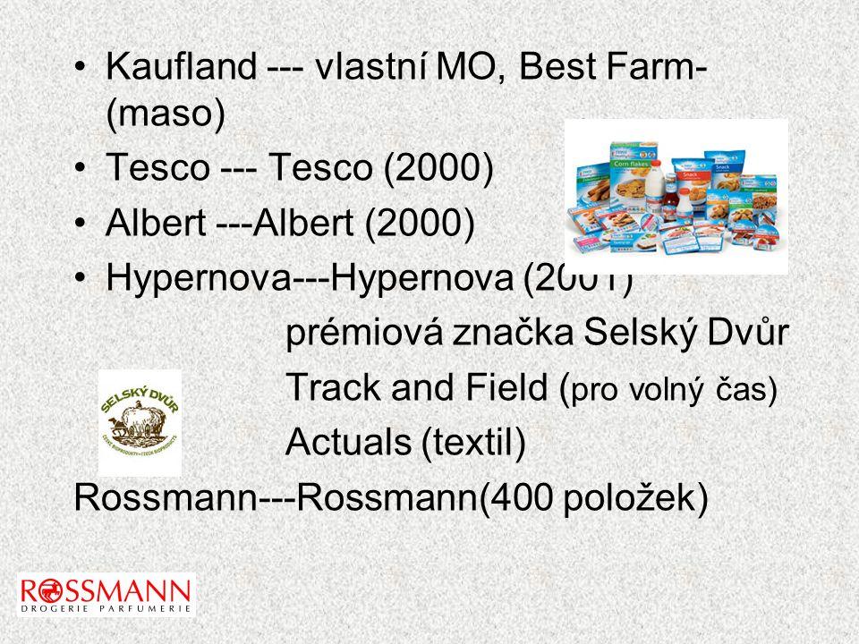 Kaufland --- vlastní MO, Best Farm- (maso) Tesco --- Tesco (2000) Albert ---Albert (2000) Hypernova---Hypernova (2001) prémiová značka Selský Dvůr Track and Field ( pro volný čas) Actuals (textil) Rossmann---Rossmann(400 položek)
