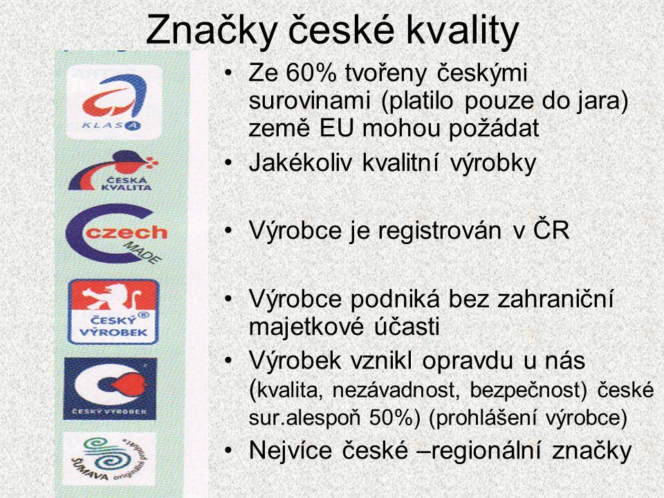 Značky české kvality Ze 60% tvořeny českými surovinami (platilo pouze do jara) země EU mohou požádat Jakékoliv kvalitní výrobky Výrobce je registrován v ČR Výrobce podniká bez zahraniční majetkové účasti Výrobek vznikl opravdu u nás ( kvalita, nezávadnost, bezpečnost) české sur.alespoň 50%) (prohlášení výrobce) Nejvíce české –regionální značky