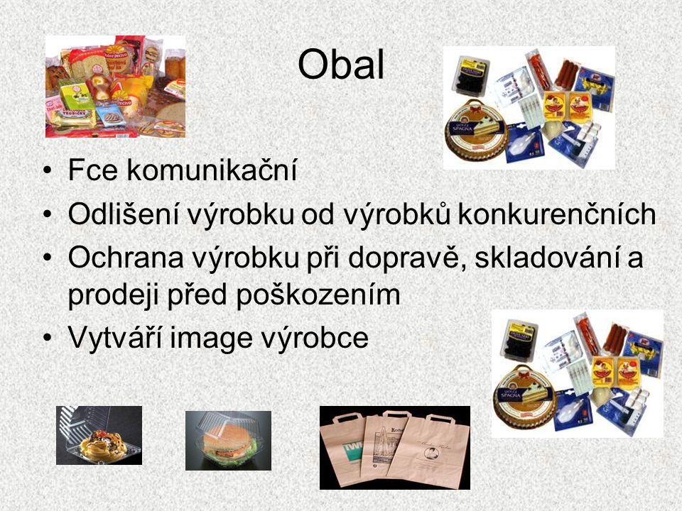 Obal Fce komunikační Odlišení výrobku od výrobků konkurenčních Ochrana výrobku při dopravě, skladování a prodeji před poškozením Vytváří image výrobce