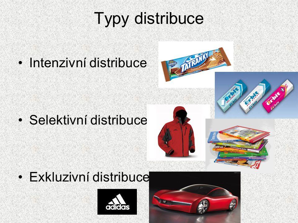 Typy distribuce Intenzivní distribuce Selektivní distribuce Exkluzivní distribuce