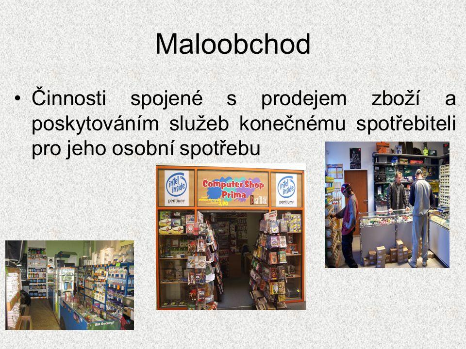 Maloobchod Činnosti spojené s prodejem zboží a poskytováním služeb konečnému spotřebiteli pro jeho osobní spotřebu