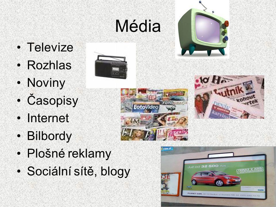 Média Televize Rozhlas Noviny Časopisy Internet Bilbordy Plošné reklamy Sociální sítě, blogy
