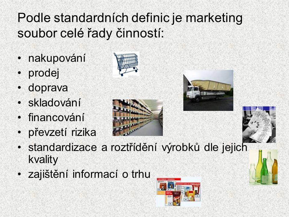 Podle standardních definic je marketing soubor celé řady činností: nakupování prodej doprava skladování financování převzetí rizika standardizace a roztřídění výrobků dle jejich kvality zajištění informací o trhu