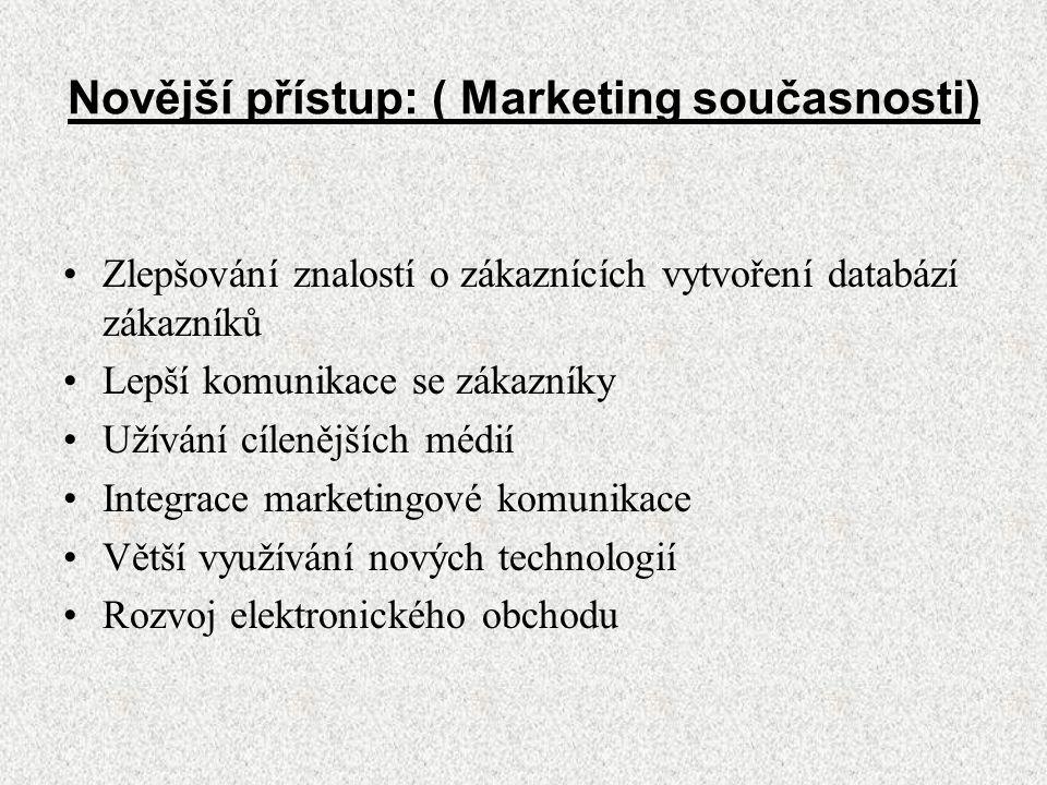 Novější přístup: ( Marketing současnosti) Zlepšování znalostí o zákaznících vytvoření databází zákazníků Lepší komunikace se zákazníky Užívání cílenějších médií Integrace marketingové komunikace Větší využívání nových technologií Rozvoj elektronického obchodu