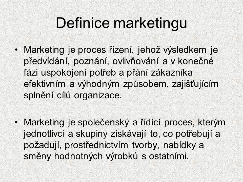 Definice marketingu Marketing je proces řízení, jehož výsledkem je předvídání, poznání, ovlivňování a v konečné fázi uspokojení potřeb a přání zákazníka efektivním a výhodným způsobem, zajišťujícím splnění cílů organizace.