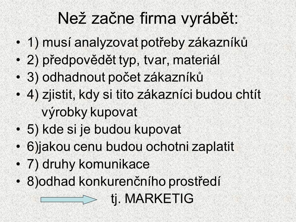Než začne firma vyrábět: 1) musí analyzovat potřeby zákazníků 2) předpovědět typ, tvar, materiál 3) odhadnout počet zákazníků 4) zjistit, kdy si tito zákazníci budou chtít výrobky kupovat 5) kde si je budou kupovat 6)jakou cenu budou ochotni zaplatit 7) druhy komunikace 8)odhad konkurenčního prostředí tj.