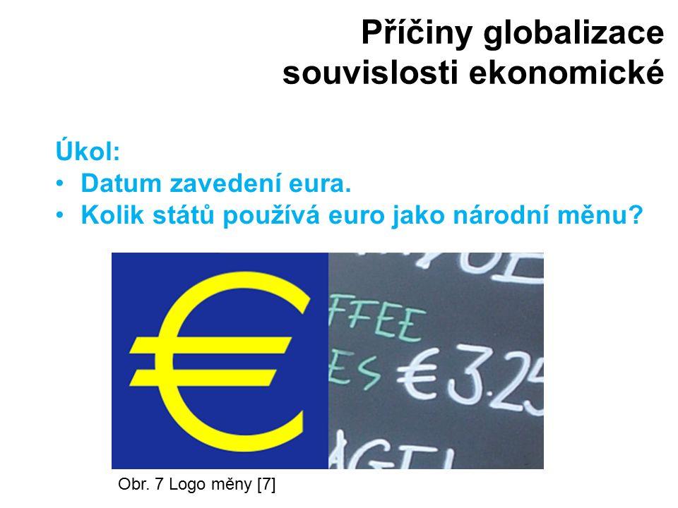 Příčiny globalizace souvislosti ekonomické Obr. 7 Logo měny [7] Úkol: Datum zavedení eura. Kolik států používá euro jako národní měnu?