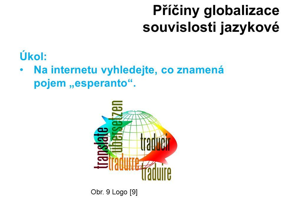 """Příčiny globalizace souvislosti jazykové Obr. 9 Logo [9] Úkol: Na internetu vyhledejte, co znamená pojem """"esperanto""""."""