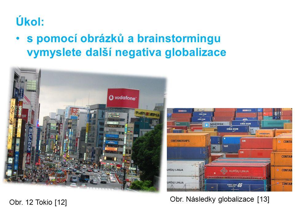Úkol: s pomocí obrázků a brainstormingu vymyslete další negativa globalizace Obr. 12 Tokio [12] Obr. Následky globalizace [13]