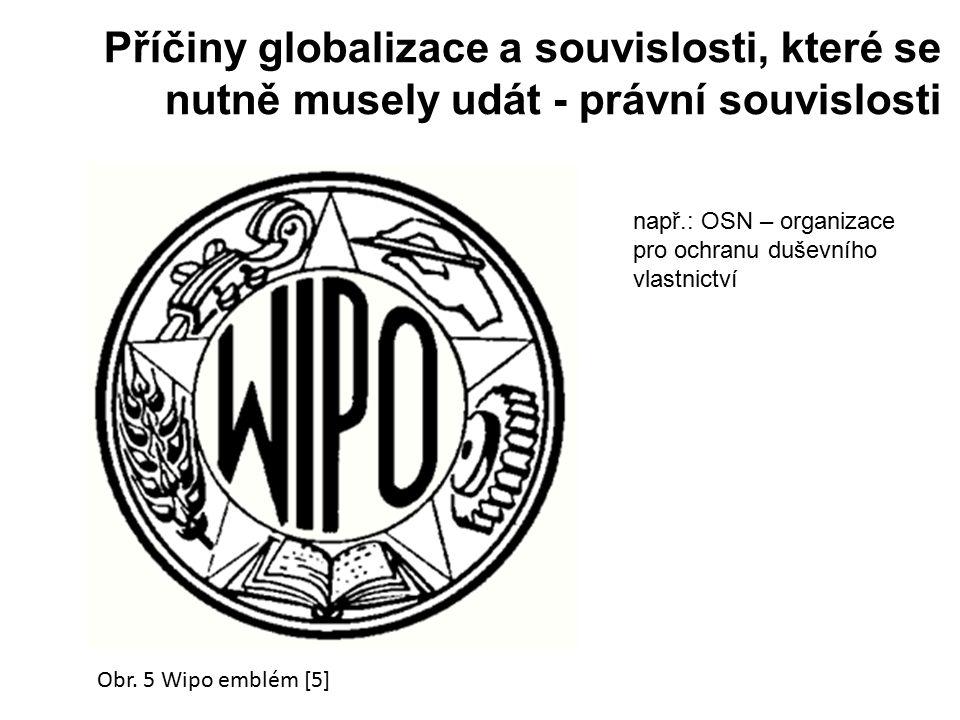 Příčiny globalizace a souvislosti, které se nutně musely udát - právní souvislosti Obr. 5 Wipo emblém [5] např.: OSN – organizace pro ochranu duševníh