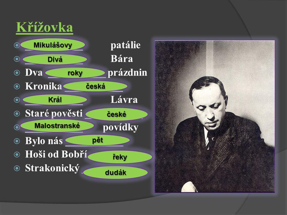 Křížovka  Vylušti křížovku - doplň názvy literárních děl. Poté doplň k názvům děl autory.