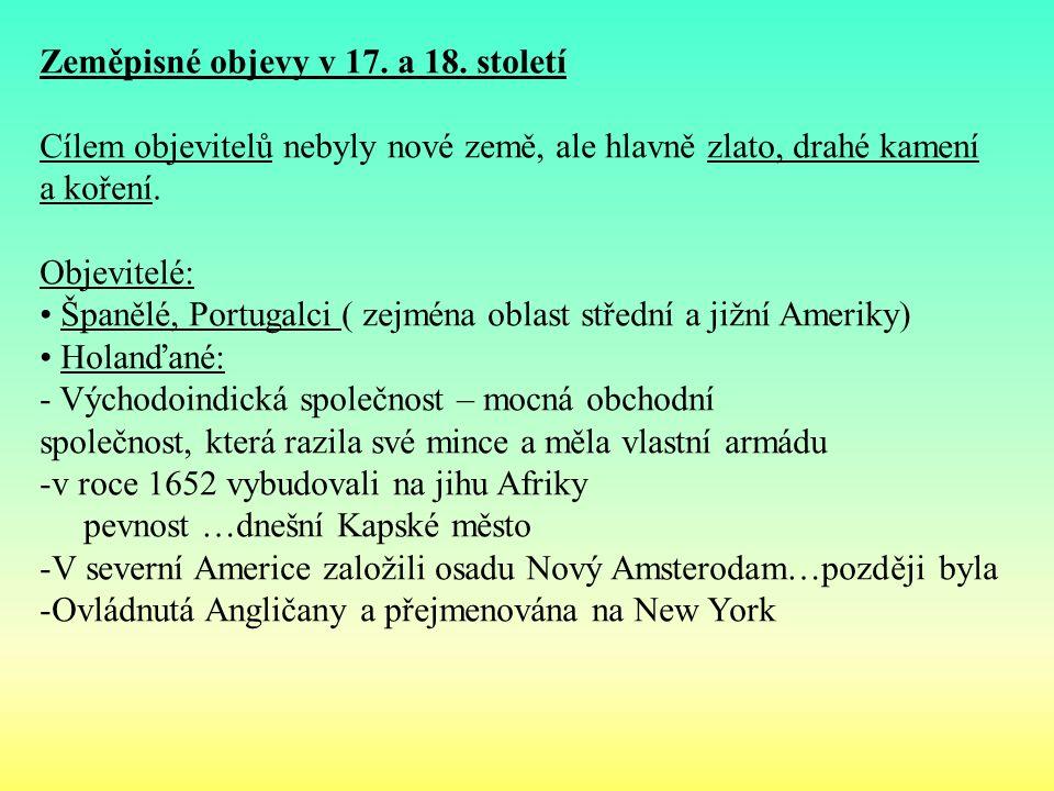Zeměpisné objevy v 17. a 18.