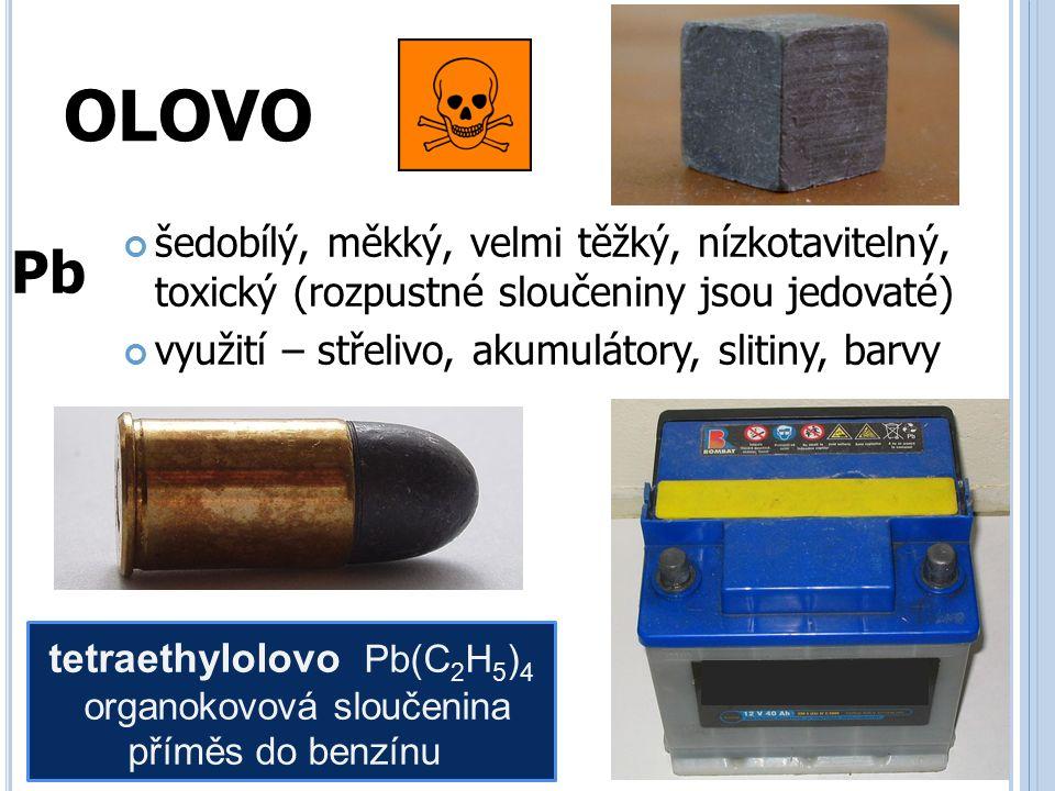 CÍN stříbrobílý, lesklý, nízkotavitelný, značně odolný vůči korozi využití – slitiny (bronz), potravinářství (pocínování konzerv), umělecké předměty válcování na velmi tenké fólie (Sn folie staniol) Sn Cínový mor je samovolný fyzikální proces, při kterém se kovový cín mění na práškovou šedou formu.