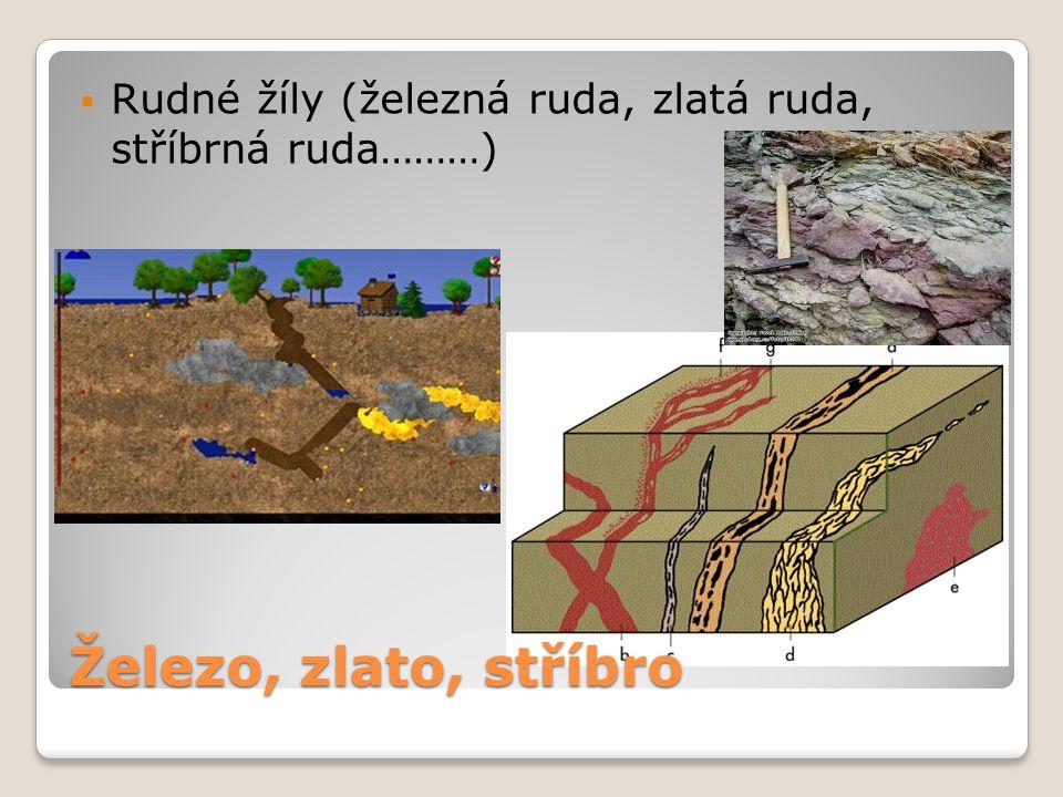  Rudné žíly (železná ruda, zlatá ruda, stříbrná ruda………) Železo, zlato, stříbro