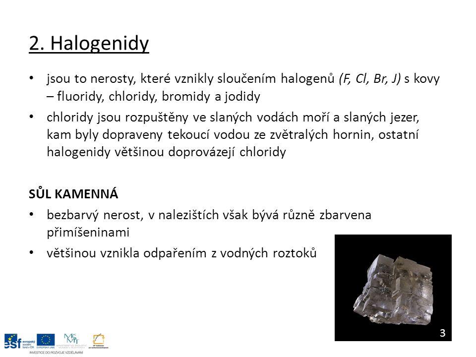 2. Halogenidy jsou to nerosty, které vznikly sloučením halogenů (F, Cl, Br, J) s kovy – fluoridy, chloridy, bromidy a jodidy chloridy jsou rozpuštěny