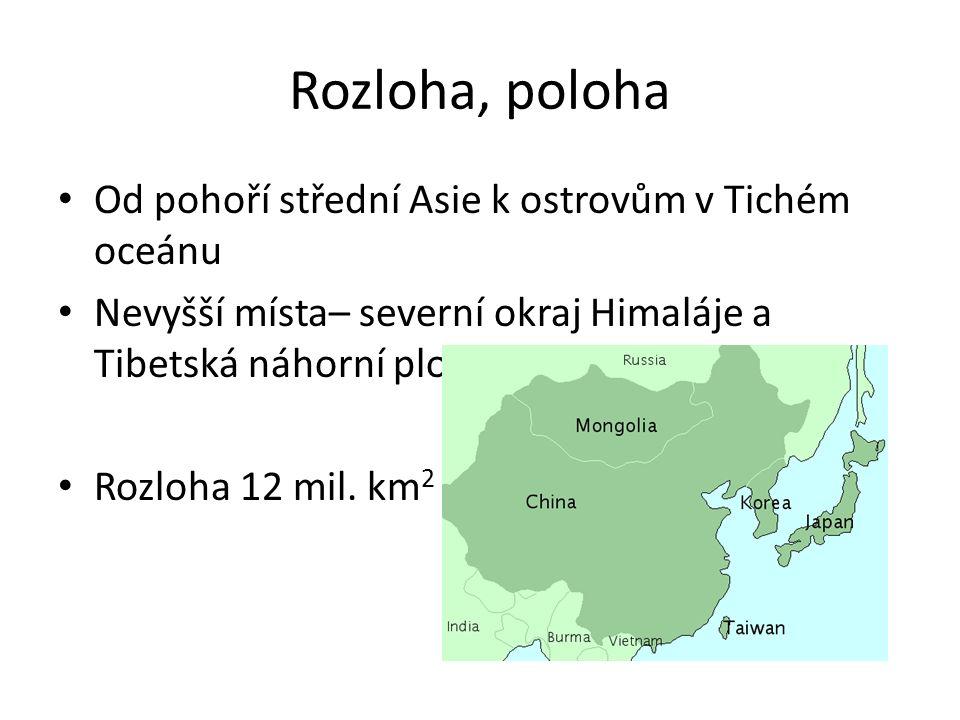 Rozloha, poloha Od pohoří střední Asie k ostrovům v Tichém oceánu Nevyšší místa– severní okraj Himaláje a Tibetská náhorní plošina Rozloha 12 mil. km