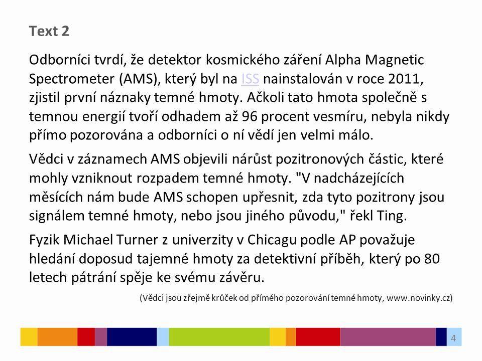 Text 2 Odborníci tvrdí, že detektor kosmického záření Alpha Magnetic Spectrometer (AMS), který byl na ISS nainstalován v roce 2011, zjistil první názn
