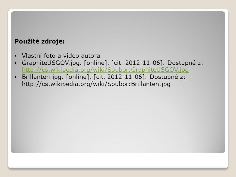Použité zdroje: Vlastní foto a video autora GraphiteUSGOV.jpg. [online]. [cit. 2012-11-06]. Dostupné z: http://cs.wikipedia.org/wiki/Soubor:GraphiteUS
