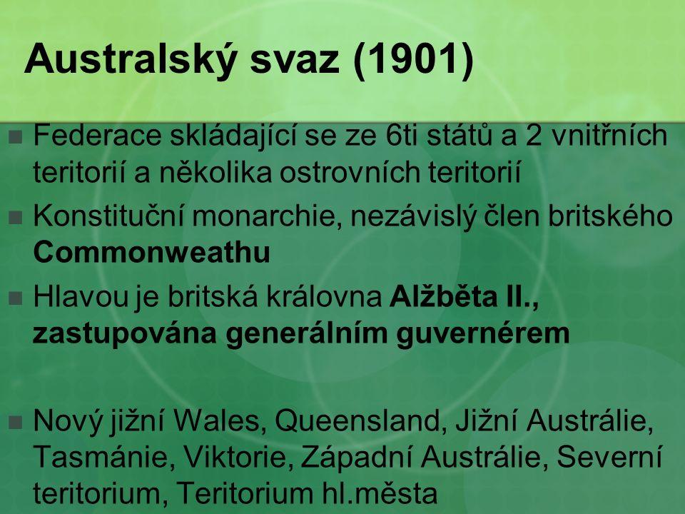 Australský svaz (1901) Federace skládající se ze 6ti států a 2 vnitřních teritorií a několika ostrovních teritorií Konstituční monarchie, nezávislý člen britského Commonweathu Hlavou je britská královna Alžběta II., zastupována generálním guvernérem Nový jižní Wales, Queensland, Jižní Austrálie, Tasmánie, Viktorie, Západní Austrálie, Severní teritorium, Teritorium hl.města