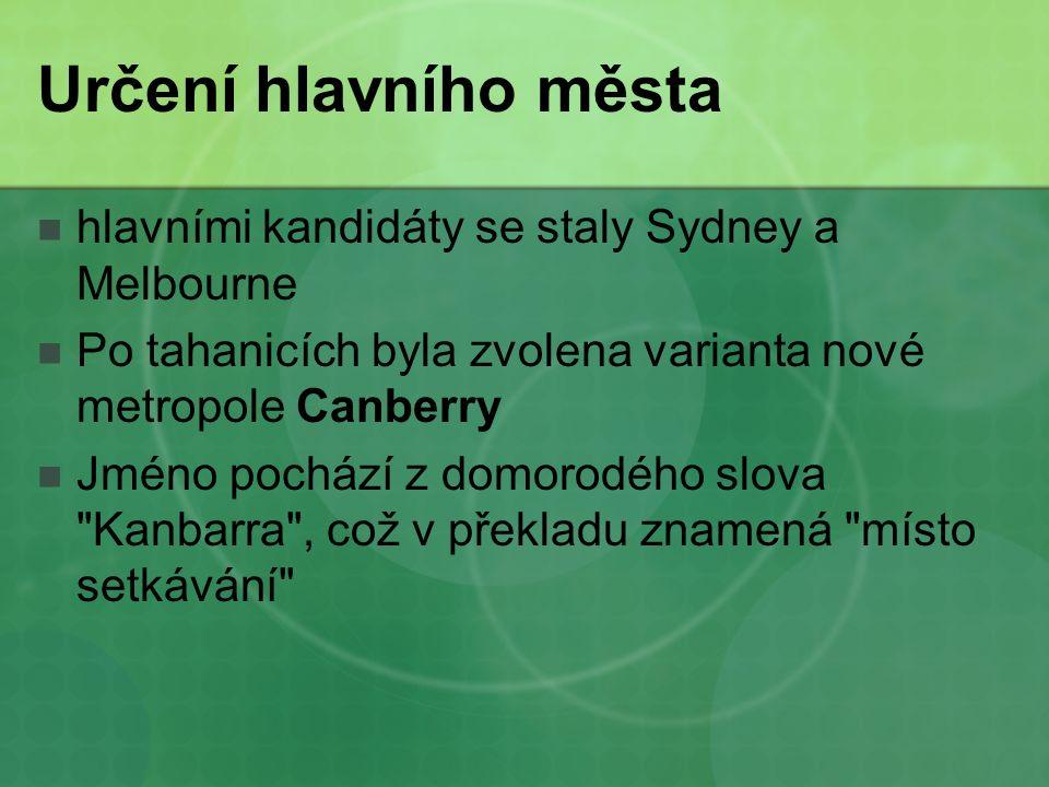 Určení hlavního města hlavními kandidáty se staly Sydney a Melbourne Po tahanicích byla zvolena varianta nové metropole Canberry Jméno pochází z domorodého slova Kanbarra , což v překladu znamená místo setkávání