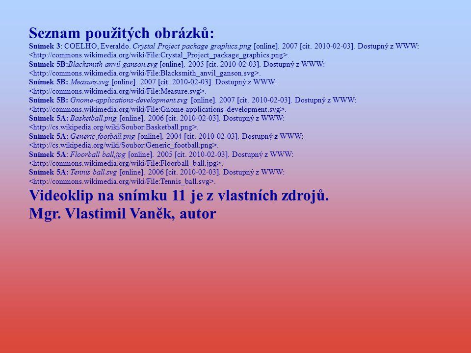 Seznam použitých obrázků: Snímek 3: COELHO, Everaldo. Crystal Project package graphics.png [online]. 2007 [cit. 2010-02-03]. Dostupný z WWW:. Snímek 5