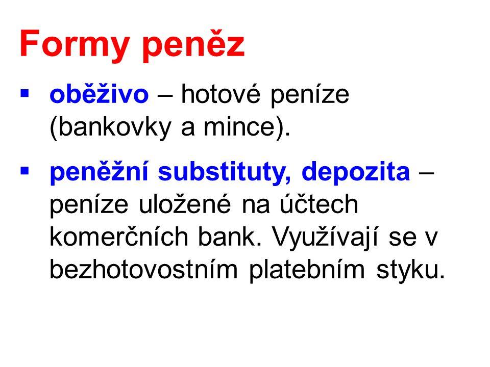 Formy peněz  oběživo – hotové peníze (bankovky a mince).