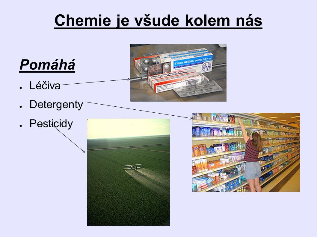 Chemie je všude kolem nás Pomáhá ● Léčiva ● Detergenty ● Pesticidy