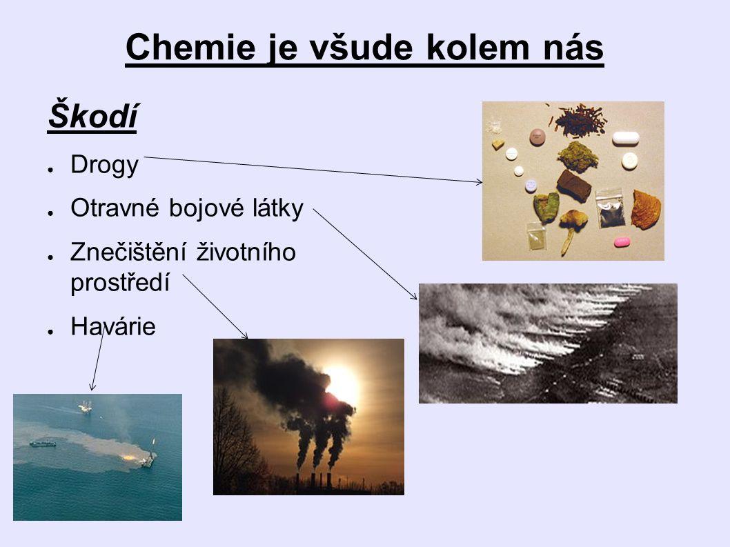 Chemie je všude kolem nás Škodí ● Drogy ● Otravné bojové látky ● Znečištění životního prostředí ● Havárie