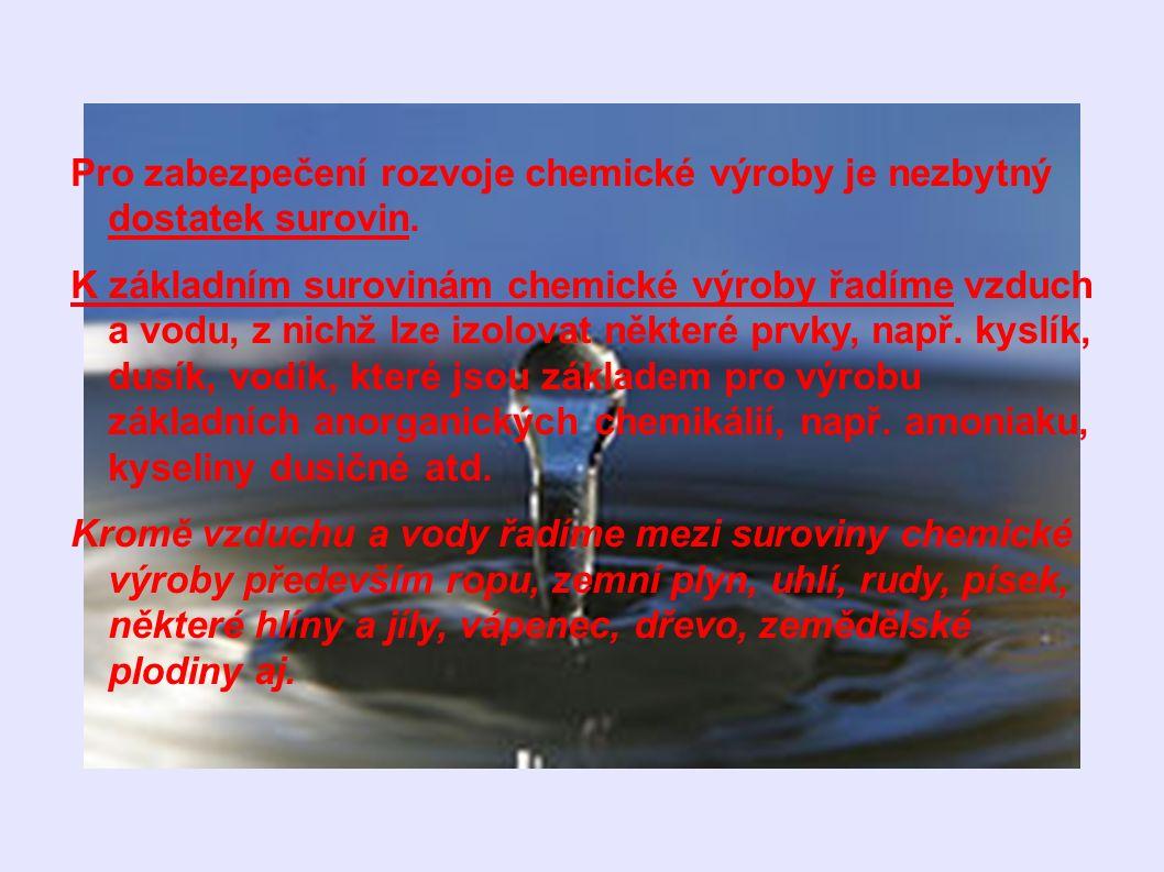 Pro zabezpečení rozvoje chemické výroby je nezbytný dostatek surovin. K základním surovinám chemické výroby řadíme vzduch a vodu, z nichž lze izolovat