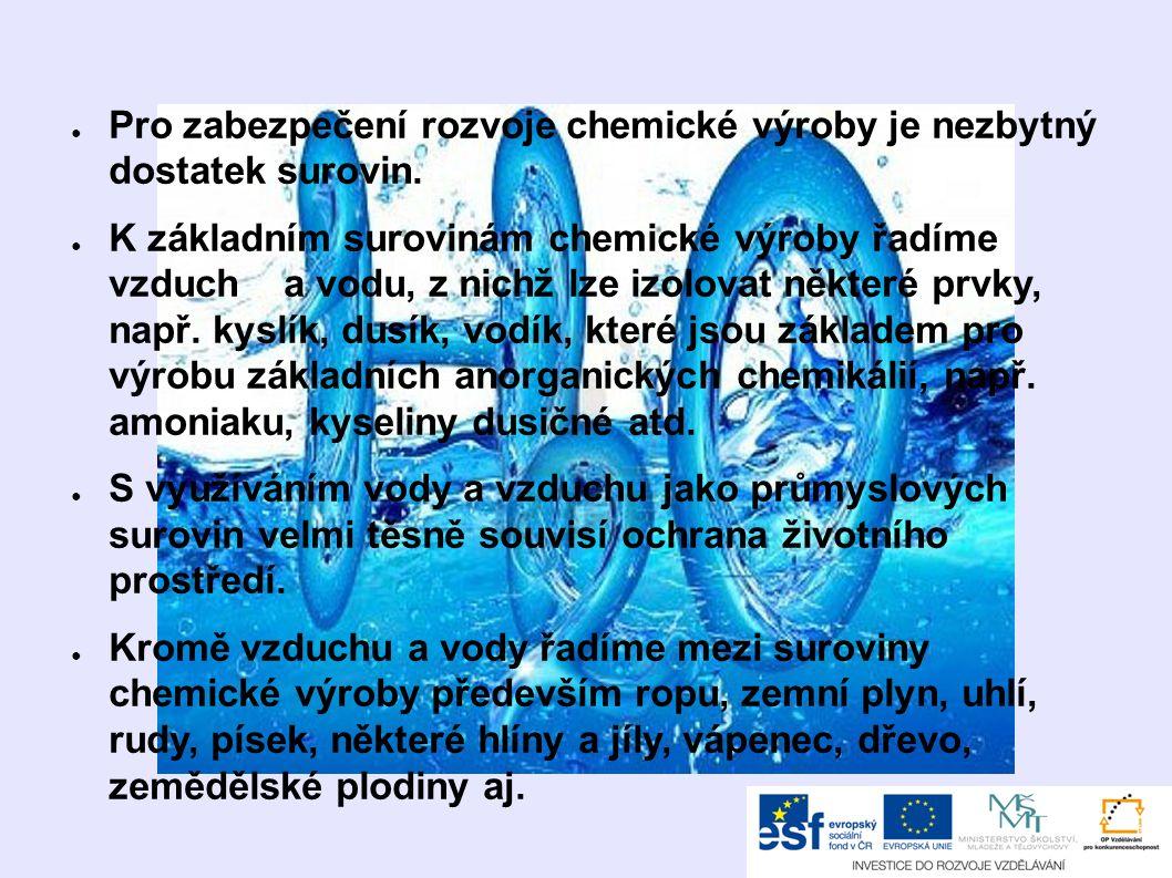 ● Pro zabezpečení rozvoje chemické výroby je nezbytný dostatek surovin.