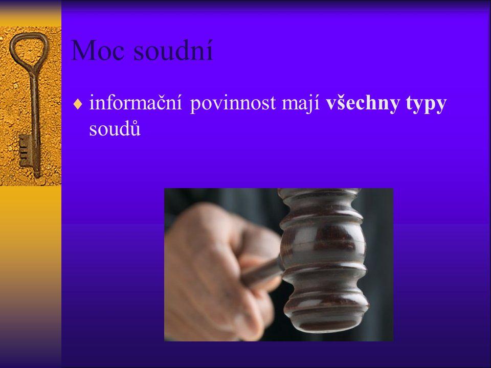 Moc soudní  informační povinnost mají všechny typy soudů