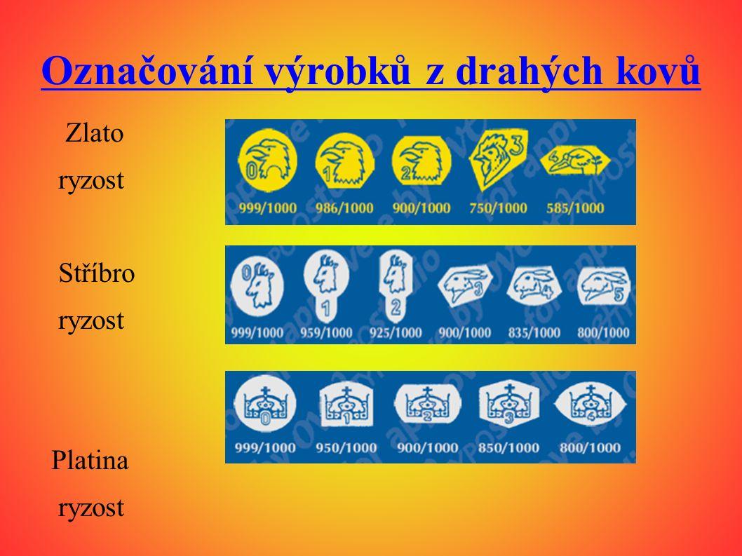 Označování výrobků z drahých kovů Zlato ryzost Stříbro ryzost Platina ryzost