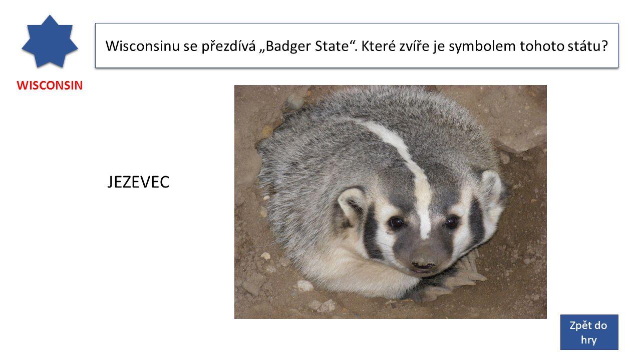"""WISCONSIN Wisconsinu se přezdívá """"Badger State . Které zvíře je symbolem tohoto státu."""