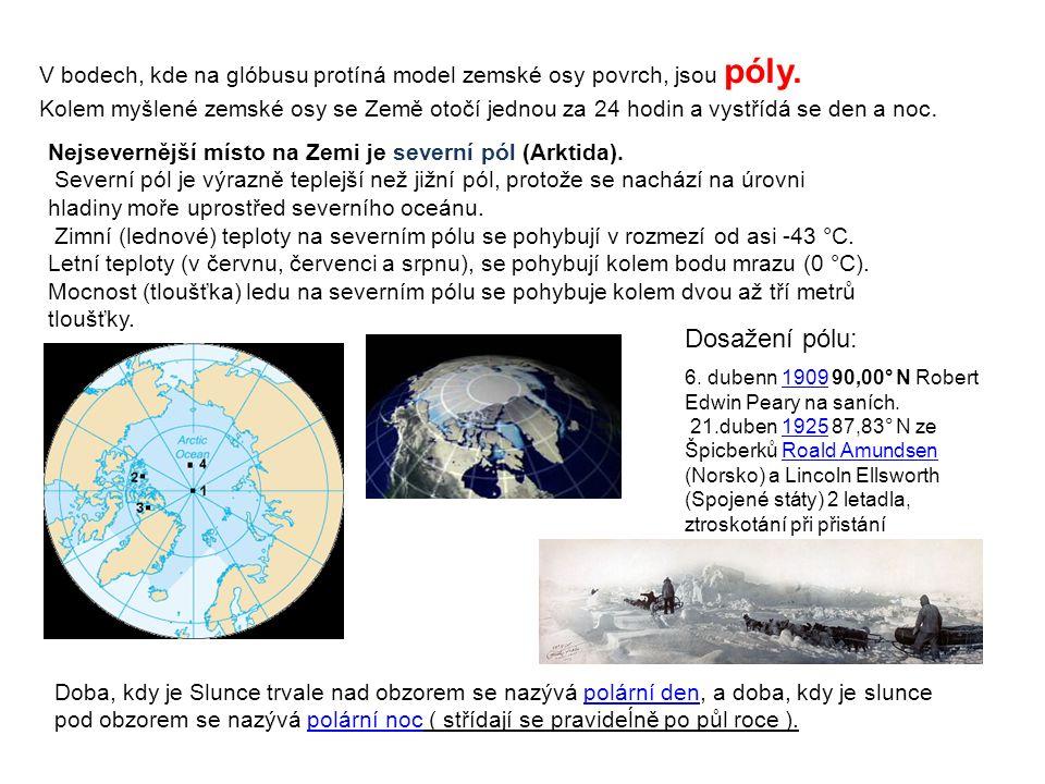 V bodech, kde na glóbusu protíná model zemské osy povrch, jsou póly.