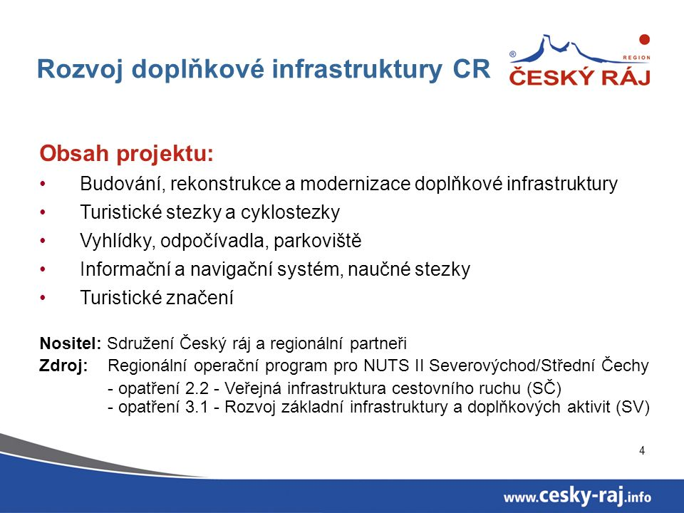4 Rozvoj doplňkové infrastruktury CR Obsah projektu: Budování, rekonstrukce a modernizace doplňkové infrastruktury Turistické stezky a cyklostezky Vyh