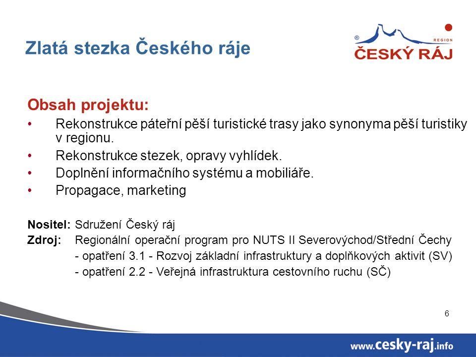 6 Zlatá stezka Českého ráje Obsah projektu: Rekonstrukce páteřní pěší turistické trasy jako synonyma pěší turistiky v regionu.