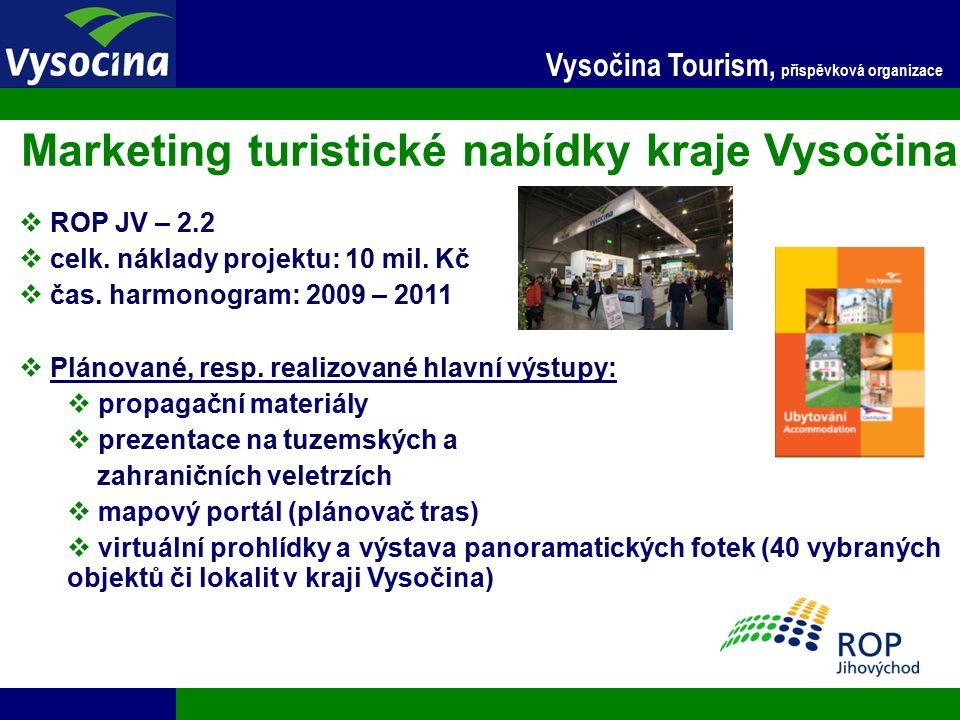 27.9.2016 9 Vysočina Tourism, příspěvková organizace Vybudování sítě hipotras  ROP JV – 2.1  celk.