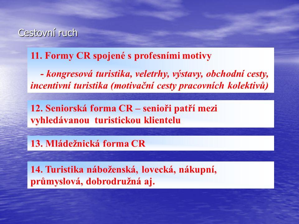 Cestovní ruch 11. Formy CR spojené s profesními motivy - kongresová turistika, veletrhy, výstavy, obchodní cesty, incentivní turistika (motivační cest