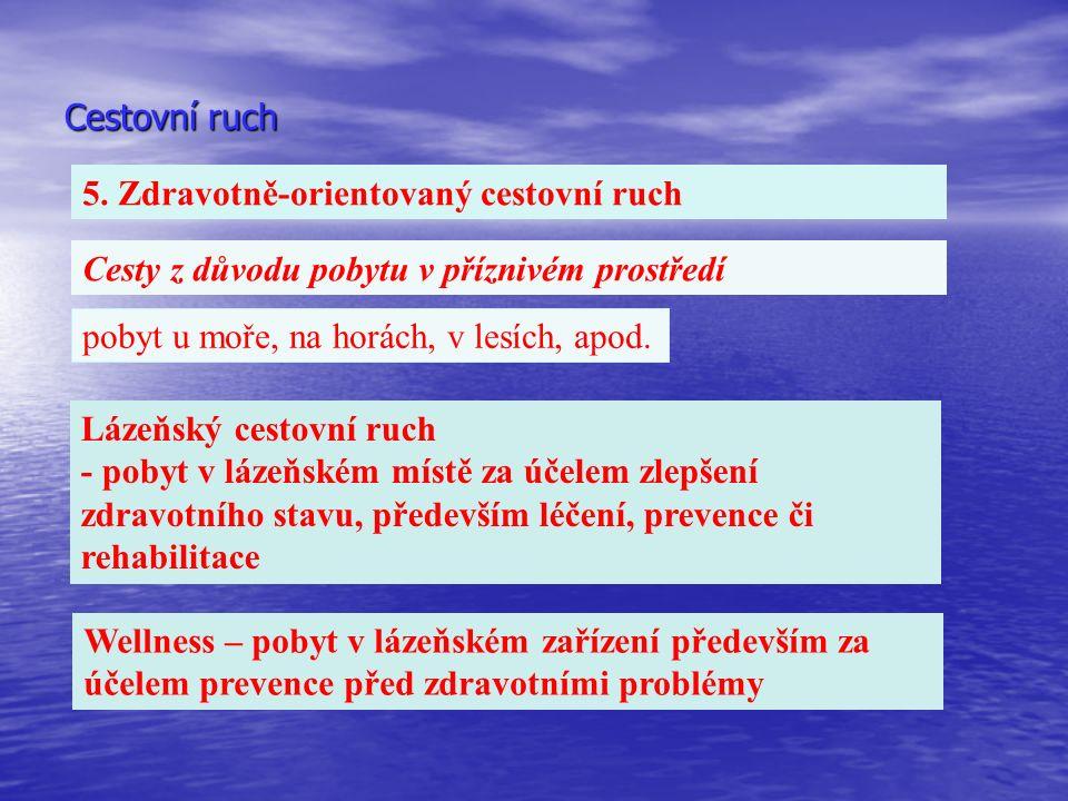 Cestovní ruch 5. Zdravotně-orientovaný cestovní ruch Cesty z důvodu pobytu v příznivém prostředí pobyt u moře, na horách, v lesích, apod. Lázeňský ces