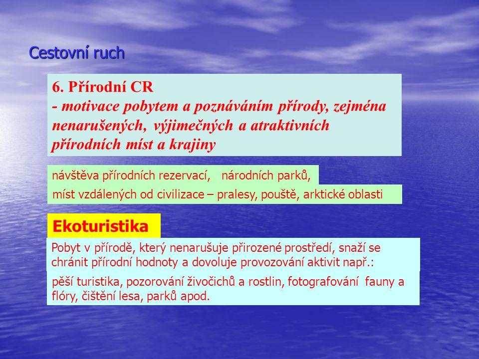 Cestovní ruch 6. Přírodní CR - motivace pobytem a poznáváním přírody, zejména nenarušených, výjimečných a atraktivních přírodních míst a krajiny návšt