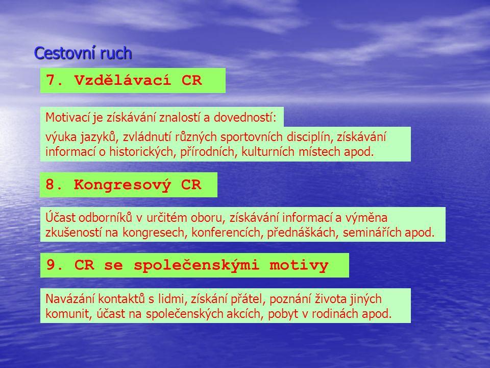 Cestovní ruch 7. Vzdělávací CR Motivací je získávání znalostí a dovedností: výuka jazyků, zvládnutí různých sportovních disciplín, získávání informací