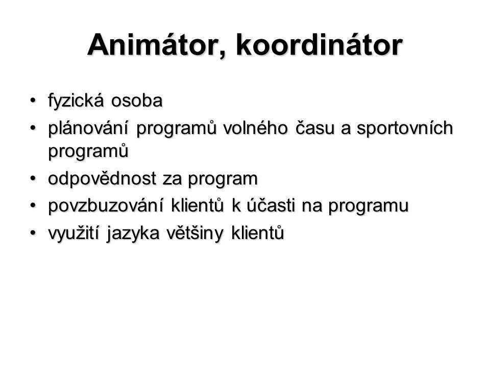 Animátor, koordinátor fyzická osobafyzická osoba plánování programů volného času a sportovních programůplánování programů volného času a sportovních p