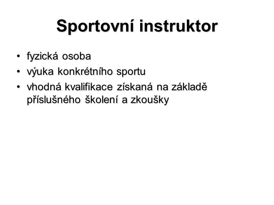 Sportovní instruktor fyzická osobafyzická osoba výuka konkrétního sportuvýuka konkrétního sportu vhodná kvalifikace získaná na základě příslušného ško