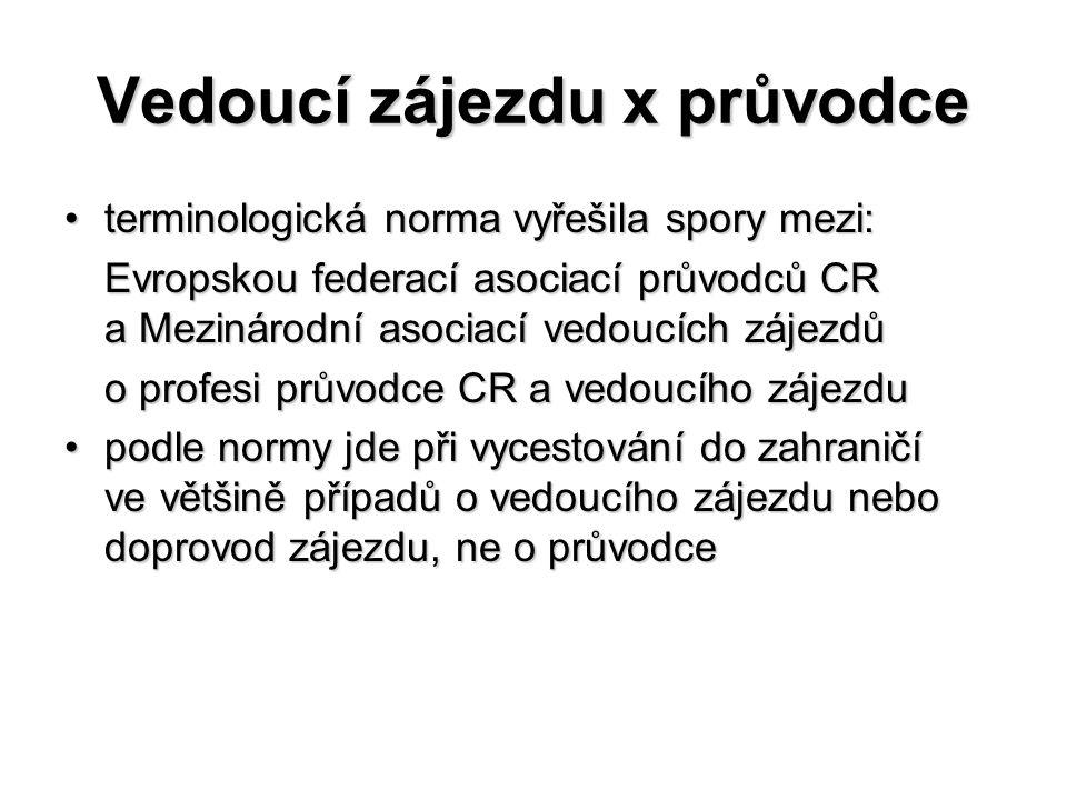 Vedoucí zájezdu x průvodce terminologická norma vyřešila spory mezi:terminologická norma vyřešila spory mezi: Evropskou federací asociací průvodců CR