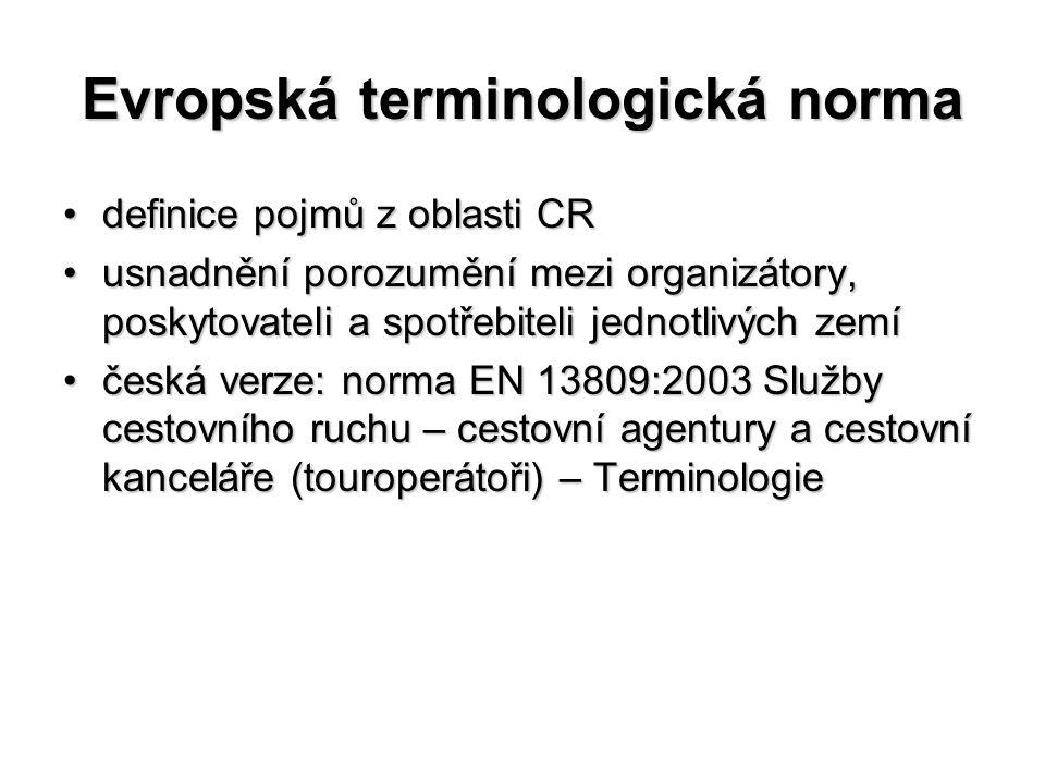 Evropská terminologická norma definice pojmů z oblasti CRdefinice pojmů z oblasti CR usnadnění porozumění mezi organizátory, poskytovateli a spotřebit