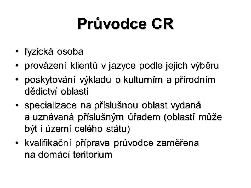 Průvodce CR fyzická osobafyzická osoba provázení klientů v jazyce podle jejich výběruprovázení klientů v jazyce podle jejich výběru poskytování výklad