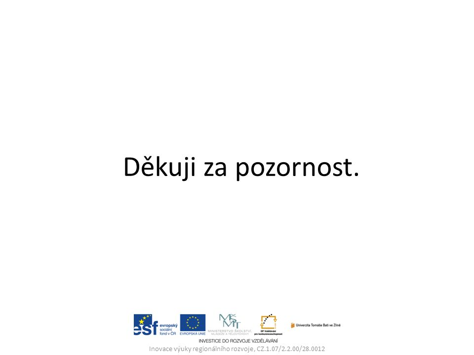 Děkuji za pozornost. Inovace výuky regionálního rozvoje, CZ.1.07/2.2.00/28.0012