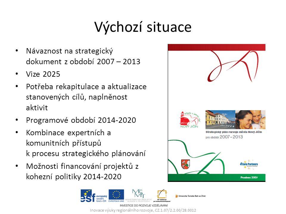 Výchozí situace Návaznost na strategický dokument z období 2007 – 2013 Vize 2025 Potřeba rekapitulace a aktualizace stanovených cílů, naplněnost aktivit Programové období 2014-2020 Kombinace expertních a komunitních přístupů k procesu strategického plánování Možnosti financování projektů z kohezní politiky 2014-2020 Inovace výuky regionálního rozvoje, CZ.1.07/2.2.00/28.0012