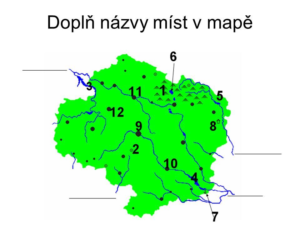 Doplň názvy míst v mapě